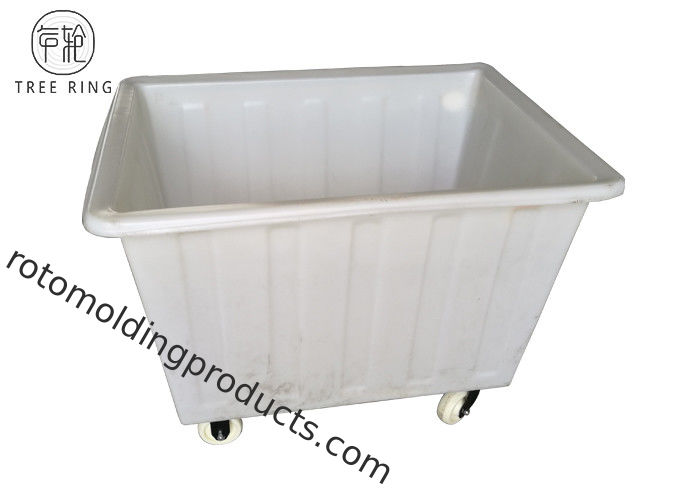 450kg Load Poly Box Truck , Plastic Laundry Bin On Wheels For Dyeing Industries 450 L